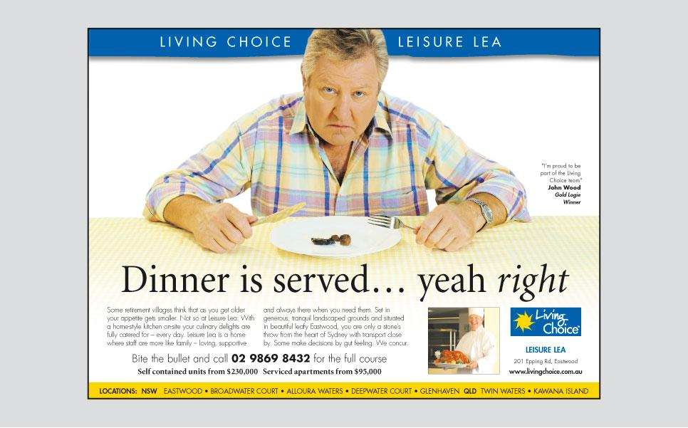 Living Choice dinner is served press ad design