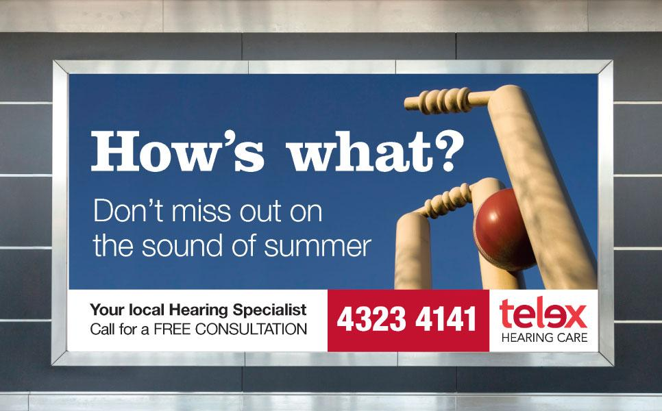 Telex Hearing Care sign advertisement design