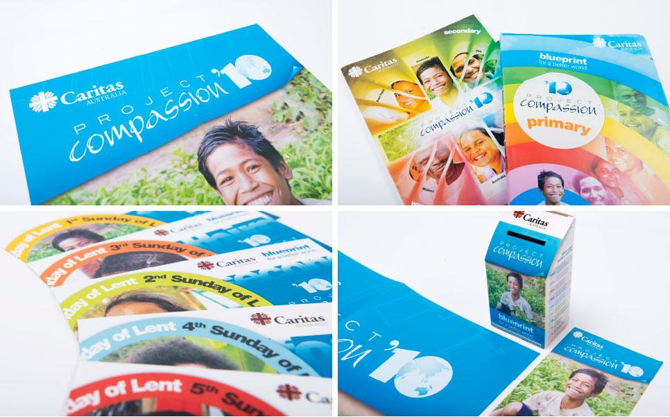 Caritas Project Compassion collateral design, printing and management