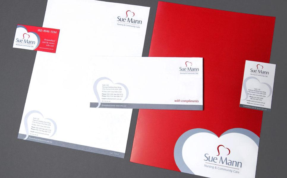 Sue Mann logo and stationery design samples