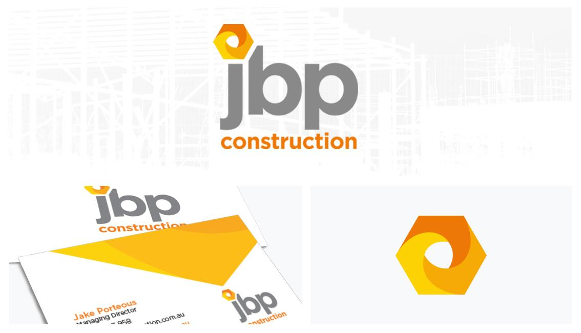 JBP Construction logo and business card design
