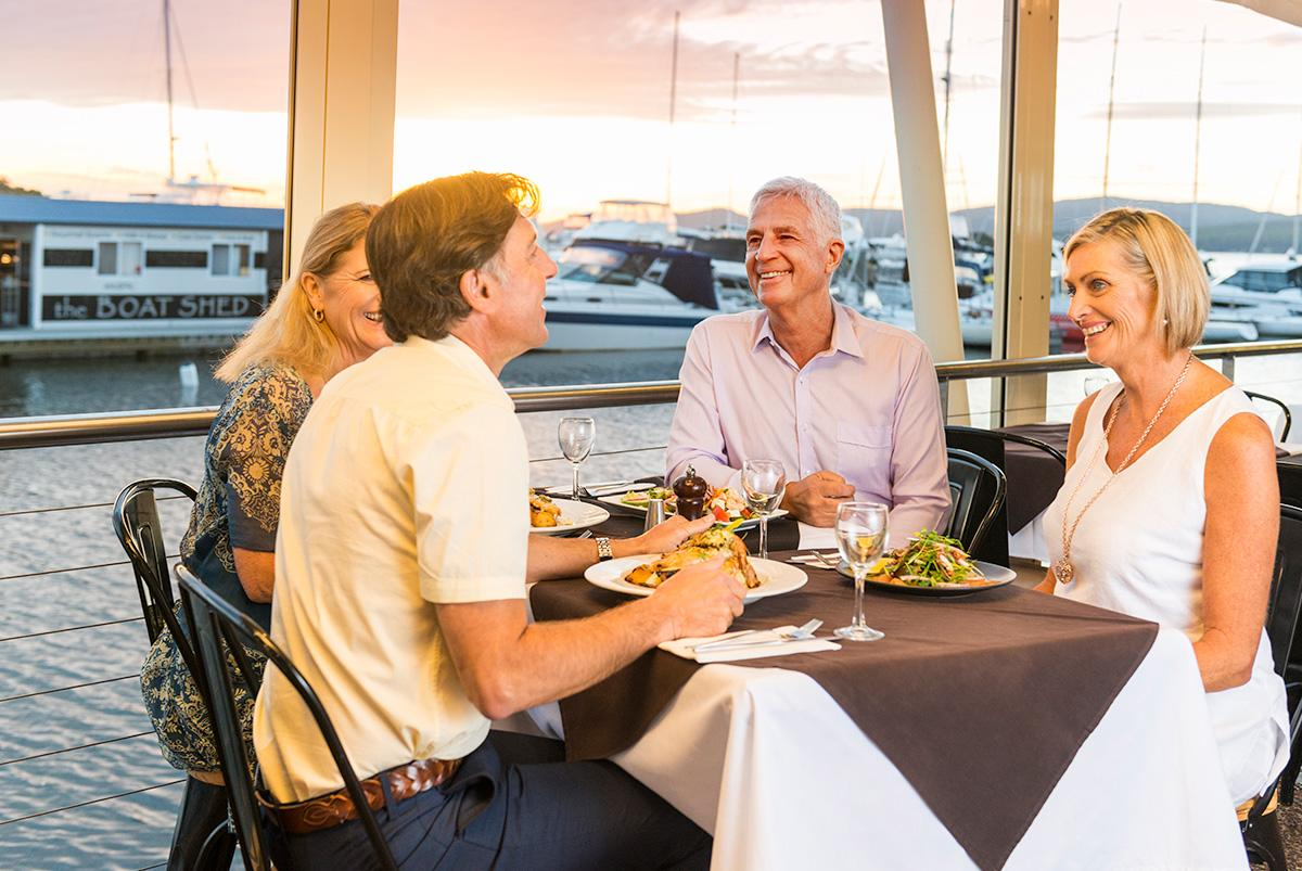 Dining at Soliders Point Marina Restaurant